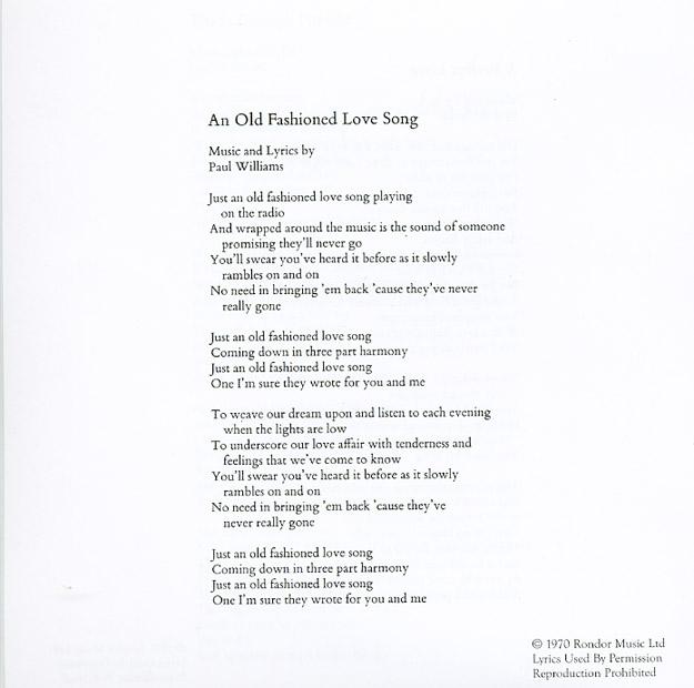 An Old-Fashioned Love Story Lyrics - Wild Party Soundtrack