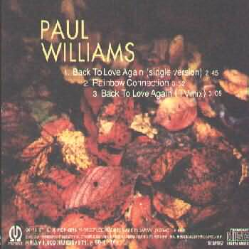 PAUL WILLIAMS - BACK TO LOVE AGAIN - THE SINGLE